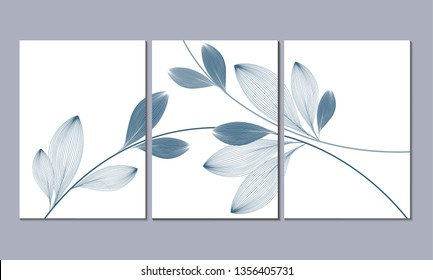 A set of three wall paintings, canvas for the living room. Poster element for interior design of a dining room, bedroom, office. Abstract floral background wiht abstract leaves.Home decor of the walls