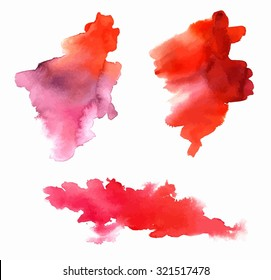 A set of three watercolor stains for design, with a place for text, scalable vector graphic