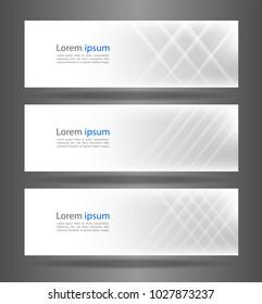 Set three white abstract modern banner texture. Vector banner background for web banner design.Vector illustration