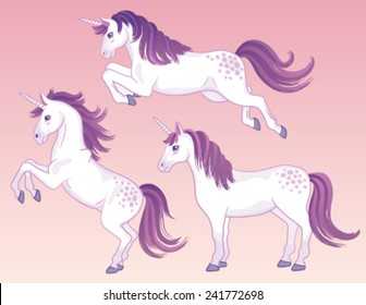 A set of three white cartoon unicorns with pink and purple manes and tails.