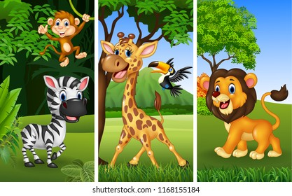 Set of three wild animals with nature background