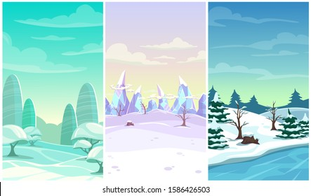 Set of three winter vertical background. Cartoon landscapes with snow, ice, trees, clouds. Vector locations for game design.