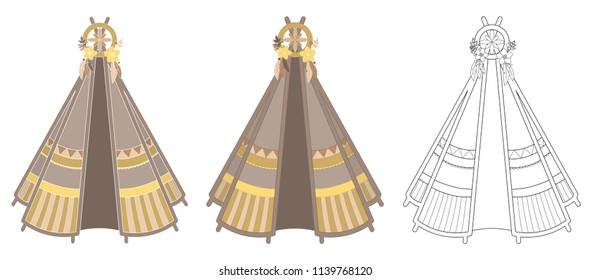 Set of three yellow-brown teepee illustrations with various outlines isolated on white background