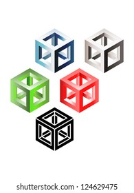 Set of three-dimensional wireframe cubes. Eps10