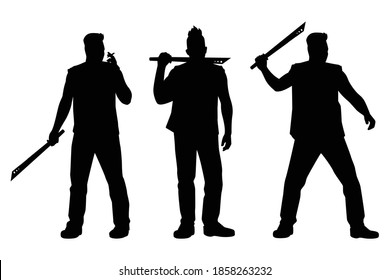 Set of thug man with knife silhouette vector