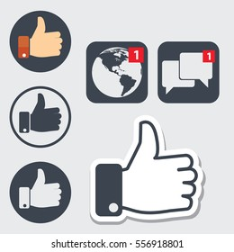 Set of thumb up icons, like facebook style