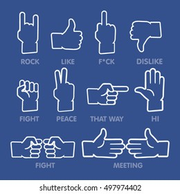 Set of thumb up icons. Outline like icons.
