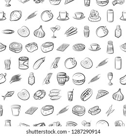 Set of thumbnails. Background for printing, design, web. Usable as icons. Seamless. Monochrome binary, black and white.