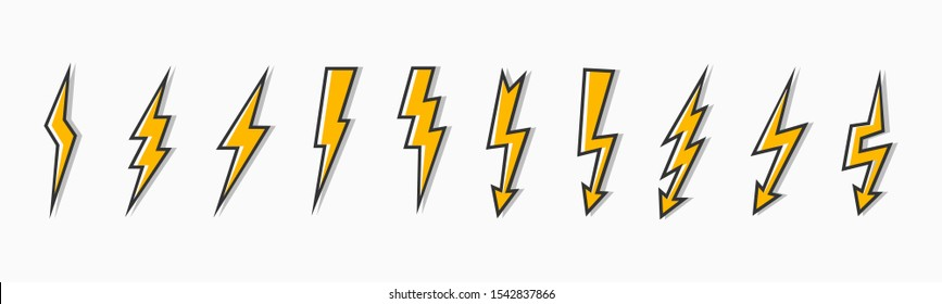 Set thunder and bolt lighting flash icon. Electric power thunderbolt, lightning bolt icon, dangerous sign – stock vector