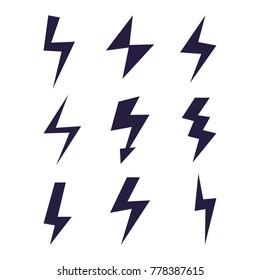 Set of Thunder and Bolt Lighting Flash Icons
