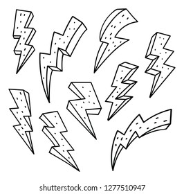 Set of thunderbolt in doodle style vector illustration
