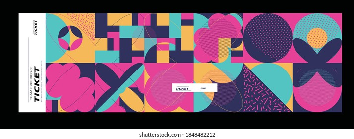 Set of ticket vector template layout with abstract pattern design graphics made with simple shapes and forms. Useful for creating invitations, banners, posters, flyers, prints, labels