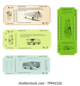 set of tickets with bus.  vector illustration