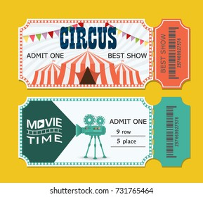 set of tickets to the circus and cinema presentation. vector template