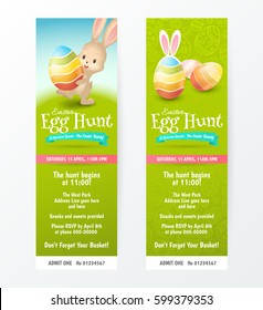 Set of tickets for Easter Egg Hunt with colored eggs and a cute rabbit. Vector template for invitations and greeting cards design. Isolated from the background. File contains clipping mask.