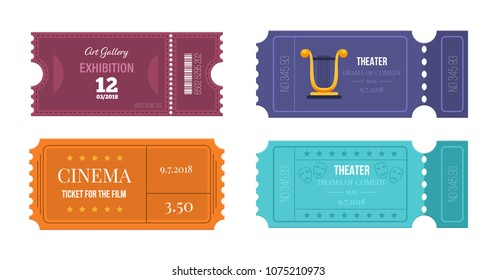 Set of tickets on various events: theater, cinema, art gallery, access in room. Entertainment program, festival. Colorful tickets, for pass in hall of movie, and theatre. Vector illustration.