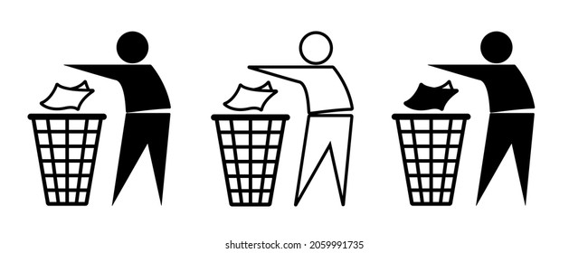 Set of Tidyman symbols, clean man icons.Pictogram that asks consumers to dispose of packaging . Keep clean. Environmentally friendly.