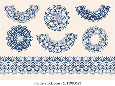 Set of tie dye art brushes and lace. Vector Ethnic necklace. Ikat  pattern. Shibori print with stripes and chevron. Ink textured japanese background.   Bohemian fashion. Endless watercolor texture.