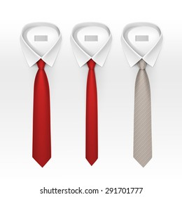 Set of Tied Striped Colored Silk Ties and Bow Ties Collection Vector Realistic Illustration Isolated on White Background
