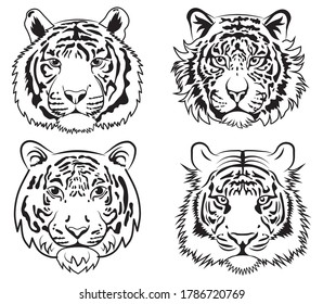 Set of tiger face. Collection of portraits predatory animal. Set of wildcats. Black and white illustration for the zoo. Team logo.