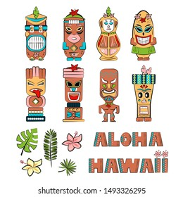 Set of Tiki tribal wooden mask. Tiki idols. Tribal symbols of hawaiian culture. Hawaiian traditional elements. Tropical flowers and leaves. Aloha Hawaii lettering. Vector illustration.