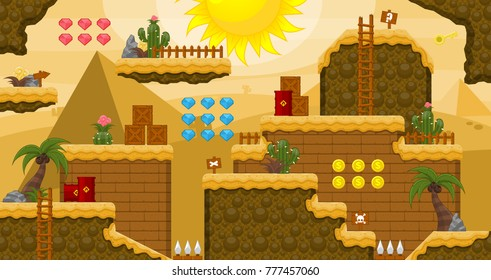 Set of tiles and objects for creating pyramid and desert themed video games