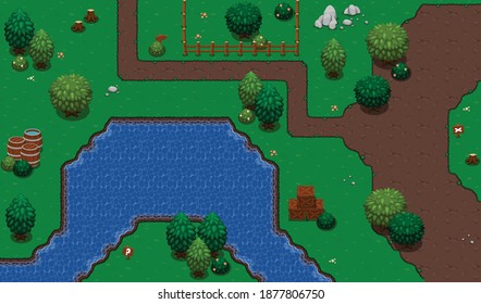 Set of tiles and objects with nature theme for creating top down RPG video games