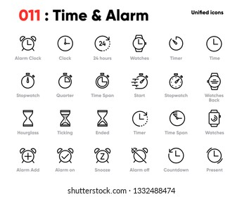 Set of Time and Clock Line Unified Icons. Includes Alarm, Timer, Stopwatch, Hourglass and other. Pixel Perfect. Editable Stroke.