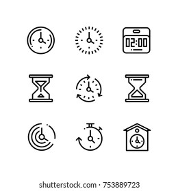 Set of time, clock, watch, timer vector simple outline icons for web and mobile design pack