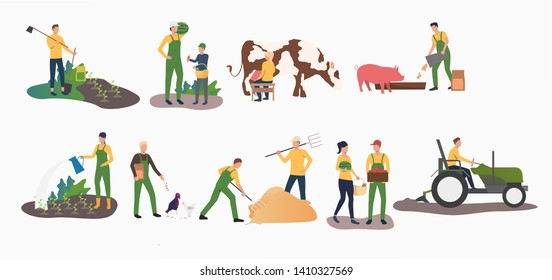 Set of time farming activities. People gardening, ranching cattle, harvesting. Farming concept. Vector illustration can be used for topics like agriculture, horticulture, cultivation