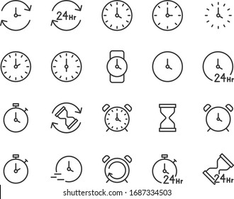 set of time icons, clock, watch, alarm, hour, 24 hr
