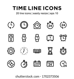 Set of time icons, containing wall clock icons, watches, alarm clock, hourglass and others with a white background.