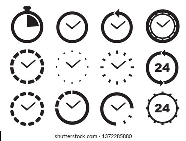 Set of time icons. Isolated vector illustration.