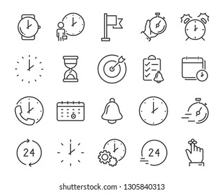 set of time icons, such as calendar, clock, reminder, hour, date
