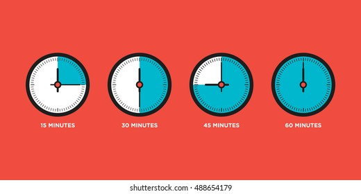 Set of time in one hour flat design, can be used for infographic vector illustration