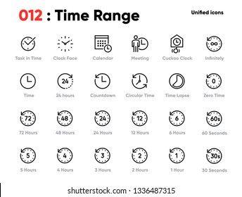 Set of Time Range Line Unified Icons. Includes Calendar, Meeting, Time Lapse, Clock Face and other. Pixel Perfect. Editable Stroke.