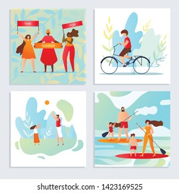 Set Time for Summer, Holidays with Family Cartoon. Men and Women Chant Slogans. Guy Rides Bicycle. Father and Daughter Playing Ball. Parents with Children Rowing on Board with Paddle Across Pond.