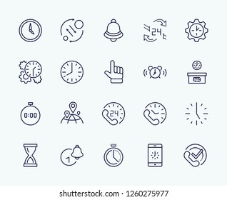 Set of Time Vector Line Icons. Contains such Icons as Timer, Speed, Alarm, Restore, Time Management and more. Editable Stroke. 32x32 Pixel Perfect