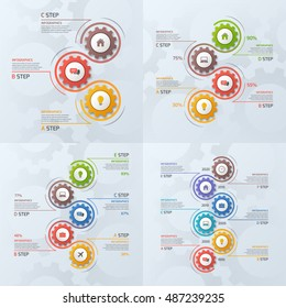 Set of timeline business infographic templates with gears cogwheels with 3-6 steps, processes, parts, options. Vector illustration.