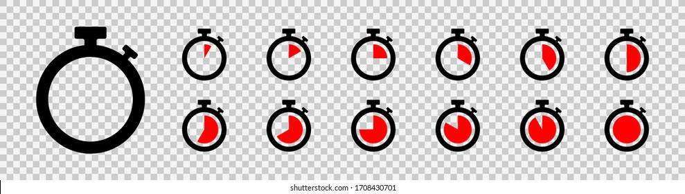 Set of timer icon set. Countdown timers. Stopwatch symbol on a transparent background. Vector illustration
