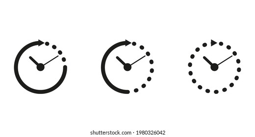 Set timer icon, hour time with arrows and circle watch, stopwatch. Service 24 hours day. Deadline, remaining time concept. Vector sign