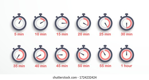 Set of timer icons, sign, symbol. Stopwatch isolated set icons. Time from 5 minutes to 1 hour. Vector illustration. EPS 10