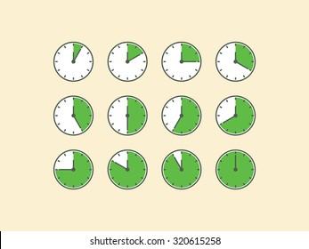 Set of timer vector, flat design