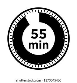 Set of timers - fifty five minutes, transparent sign 55 min.