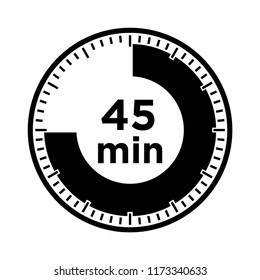 Set of timers - forty five minutes, transparent sign 45 min.