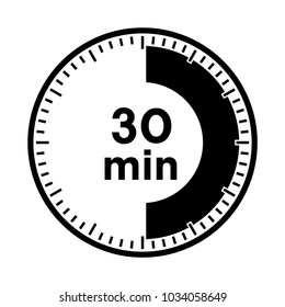 Set of timers - thirty minutes, transparent sign 30 min.