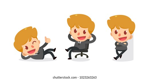 Set of tiny businessman character in actions. Relax. Isolated vector.