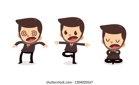 Set of Tiny businessman character in actions. Isolated vector. Numbness.