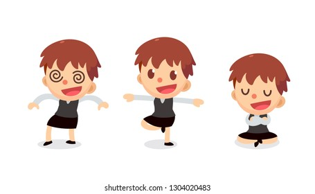 Set of Tiny businesswoman character in actions. Isolated vector. Numbness.