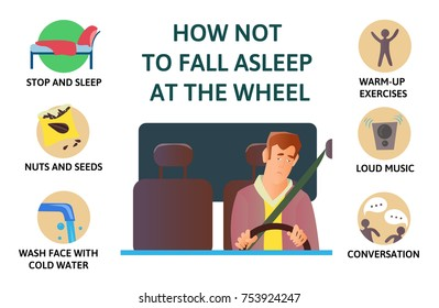 Set of tips to stay awake while driving. Sleep deprivation. How not to fall asleep at the wheel. Isolated vector illustration on white background. Flat style infogrphics.